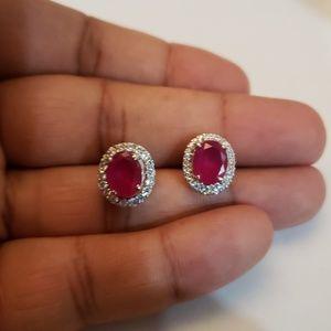 Ruby cz diamonds oval big stud